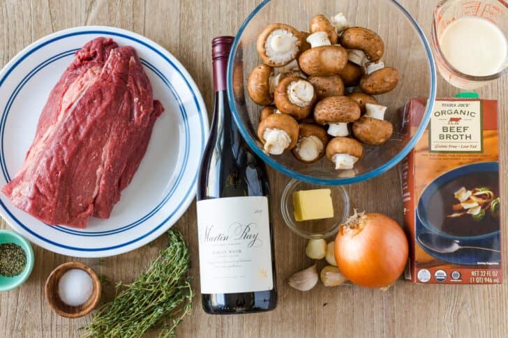 Ingredients for beef tenderloin roast with mushroom sauce