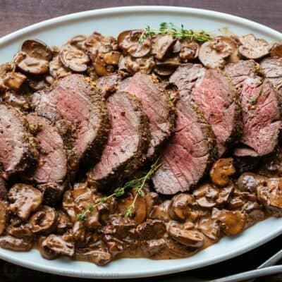 Beef Tenderloin with Mushroom Sauce