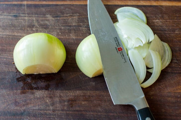 Slicing onions parallel with the onion lines