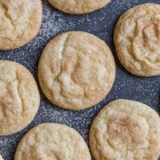 Snickerdoodle cookies on a cookie tray