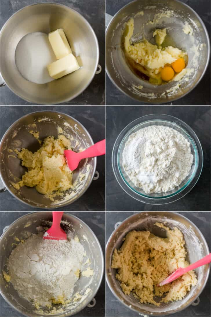 step by step of the dough making for snickerdoodle cookies