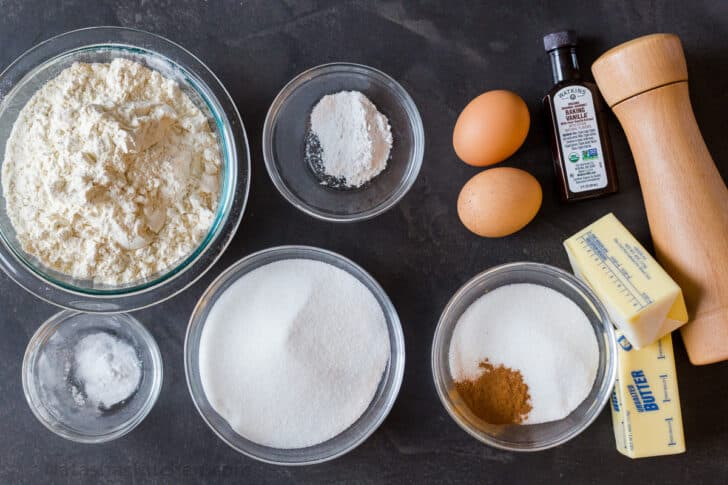 Ingredients for the snickerdoodle cookies