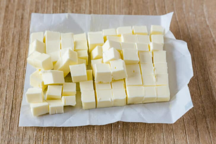Cold diced butter for the best biscuits