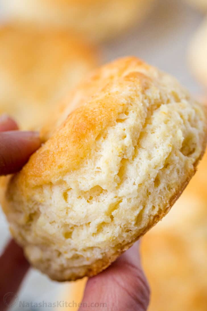 Up close fluffy homemade biscuit with soft layers