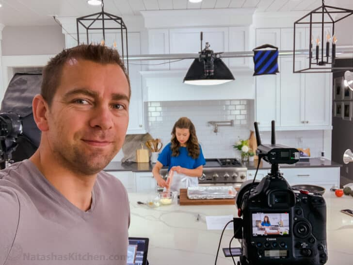 Cameraman and Natasha in Kitchen