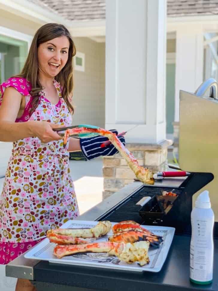 Natasha grilling crab legs