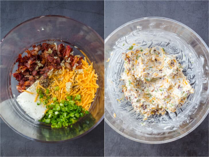 Step by step collage on how to make the filling for the jalapeno poppers.