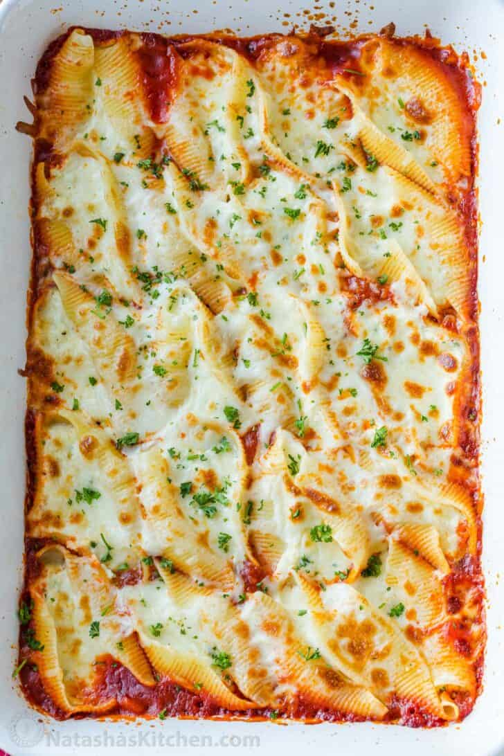 Baked Stuffed Shells with ricotta in casserole