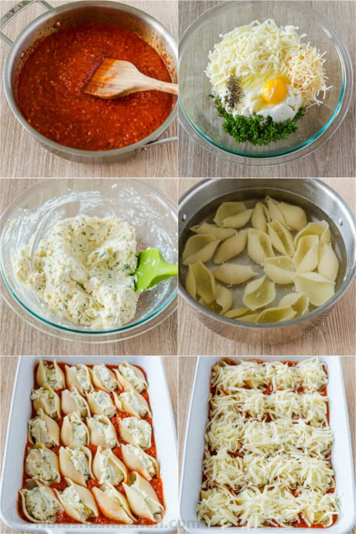 Step by step tutorial for making stuffed shells