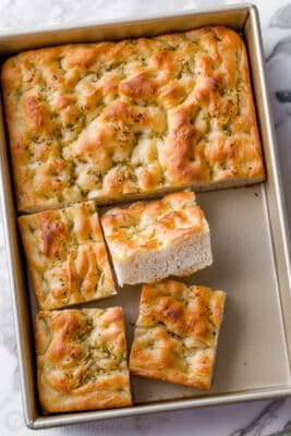 Focaccia bread recipe in pan