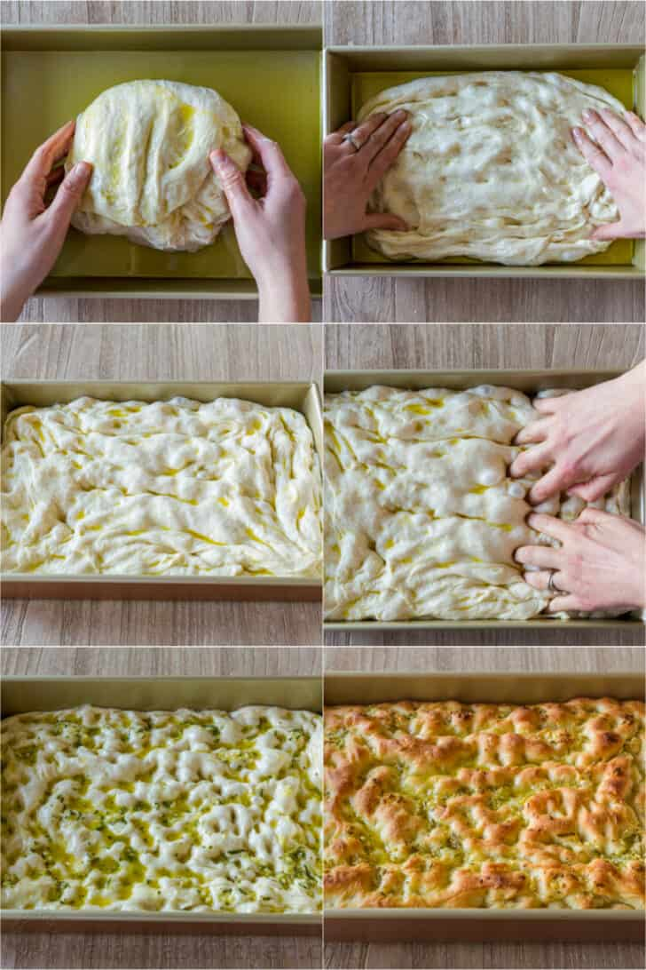 Step by step forming Focaccia bread with dimples and topping
