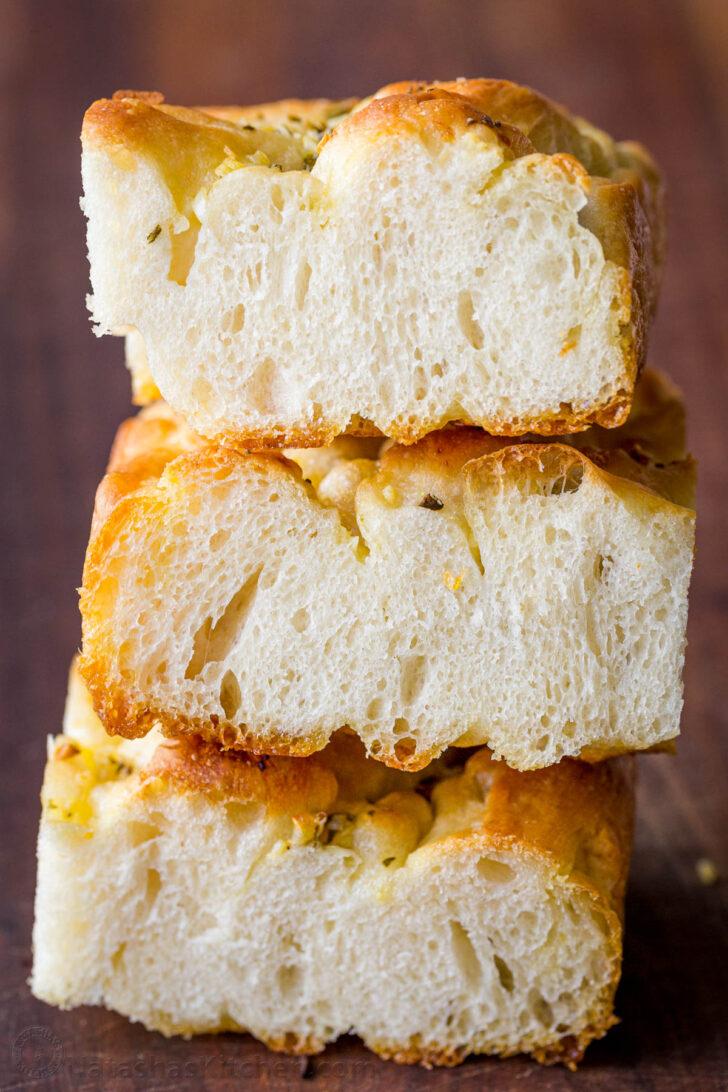 Focaccia bread stacked