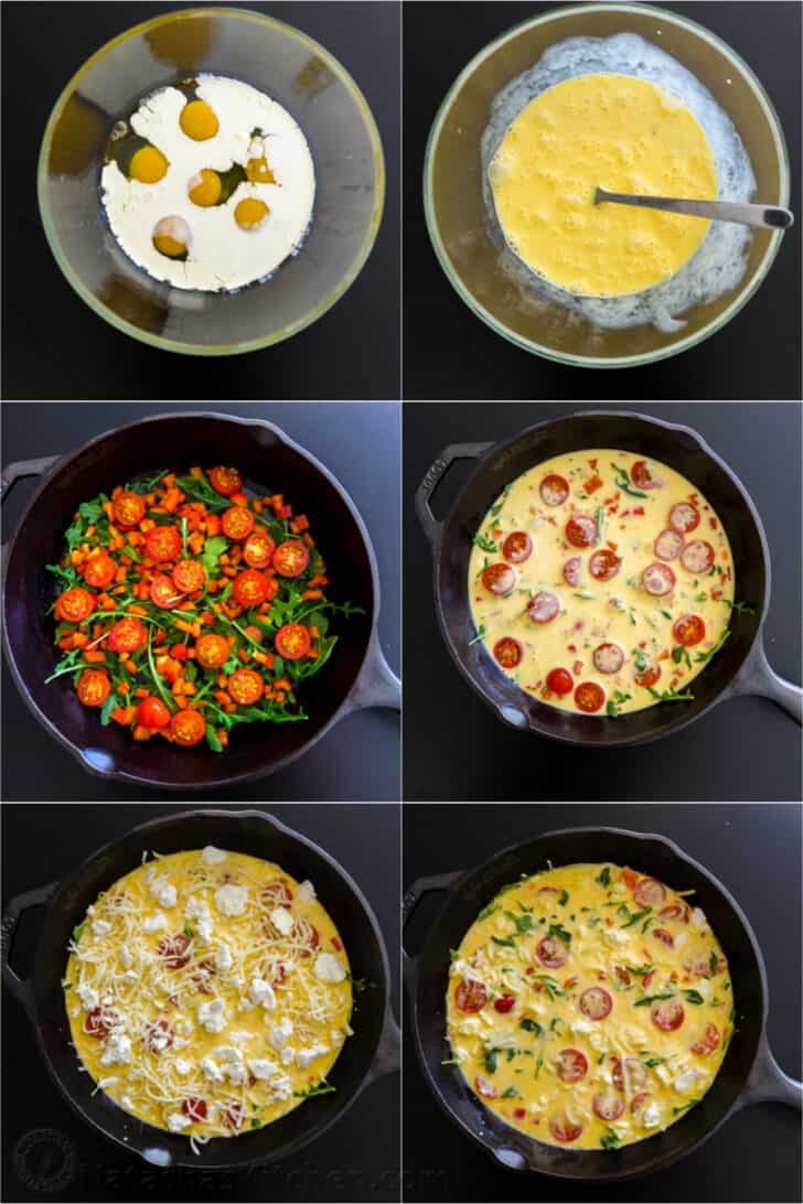 a step by step photos for making frittatas