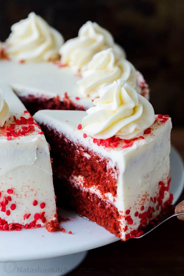 Red Velvet Cake slice with cake