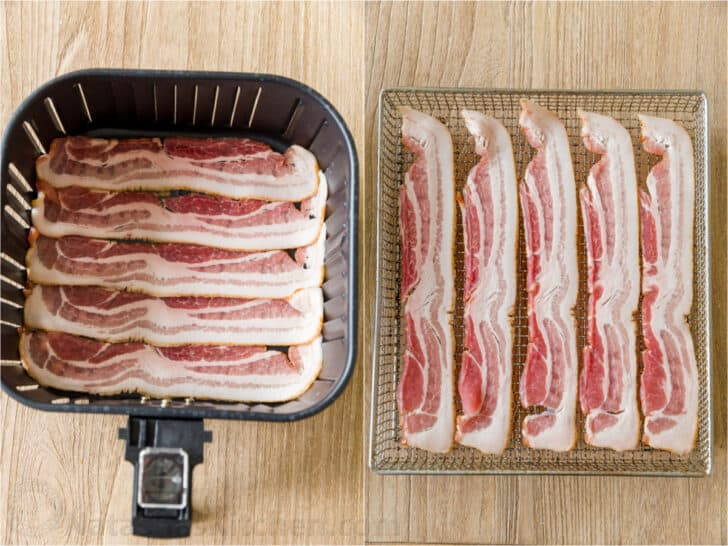 Uncooked bacon in air fryer baskets