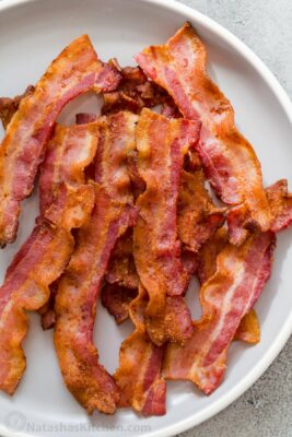 Air Fryer bacon on serving plate
