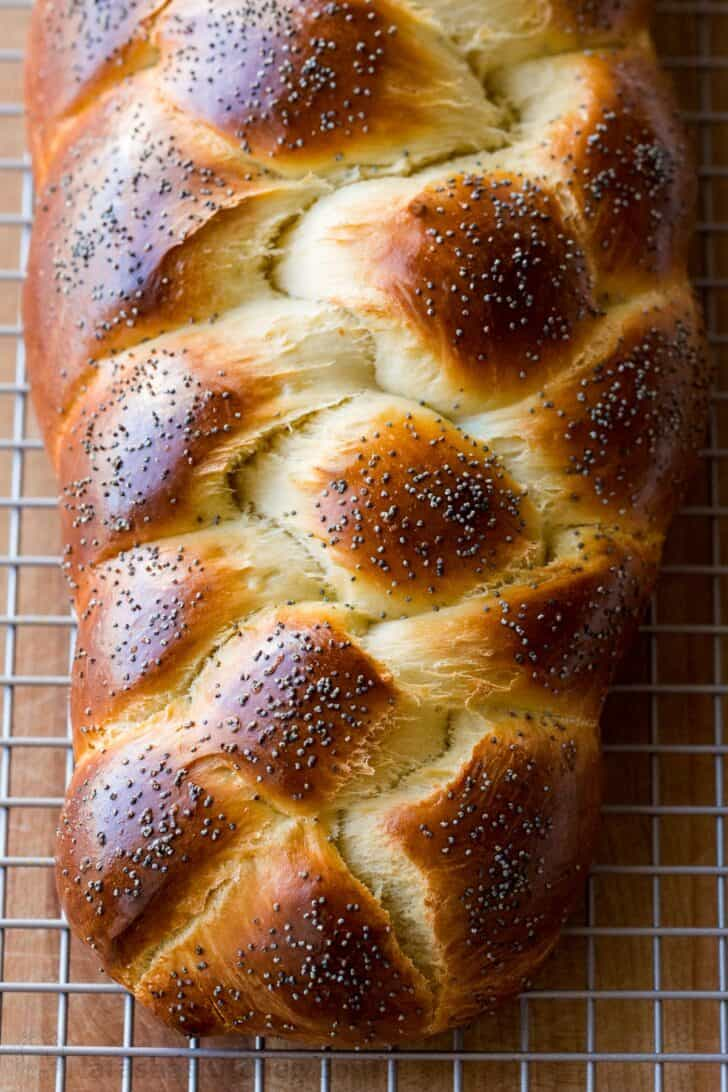 Braided Brioche Bread cooling on wire rack