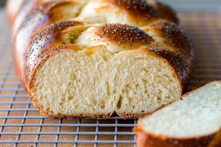 Sliced center of soft brioche bread