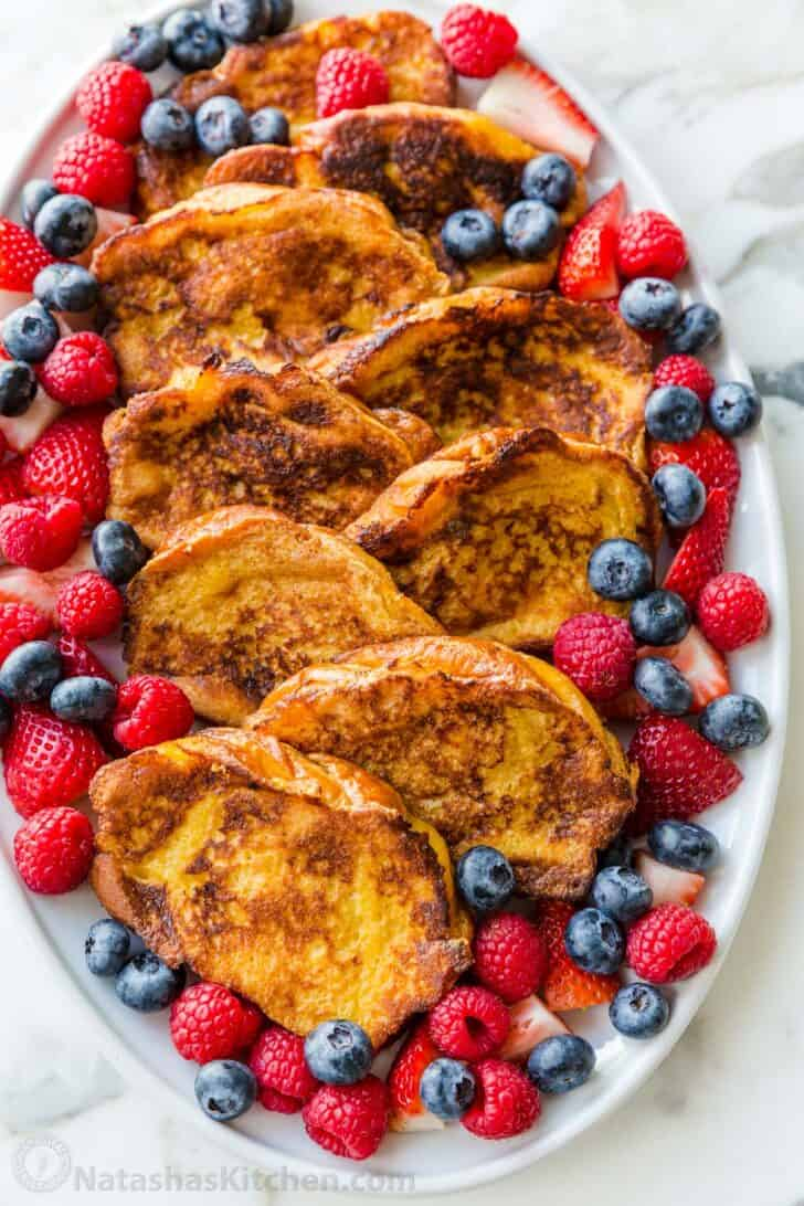 French toast arranged on a serving platter