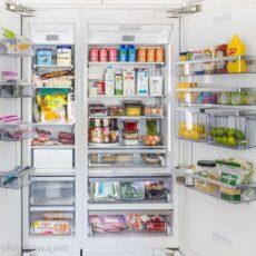 Organized Refrigerator with doors open