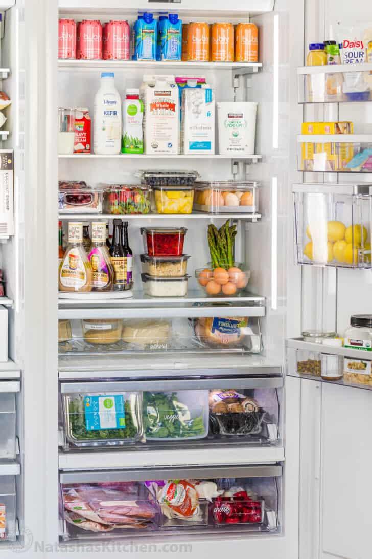 Restocked and organized refrigerator