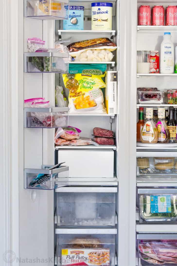 Organized Freezer with produce