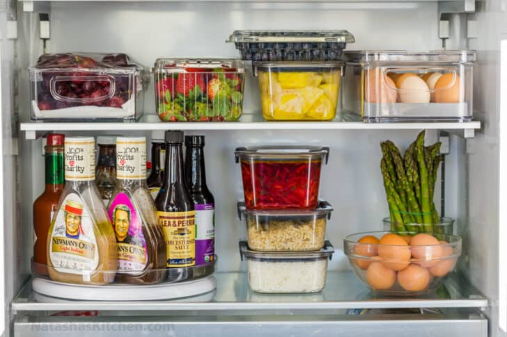 meal prep containers in the refrigerator