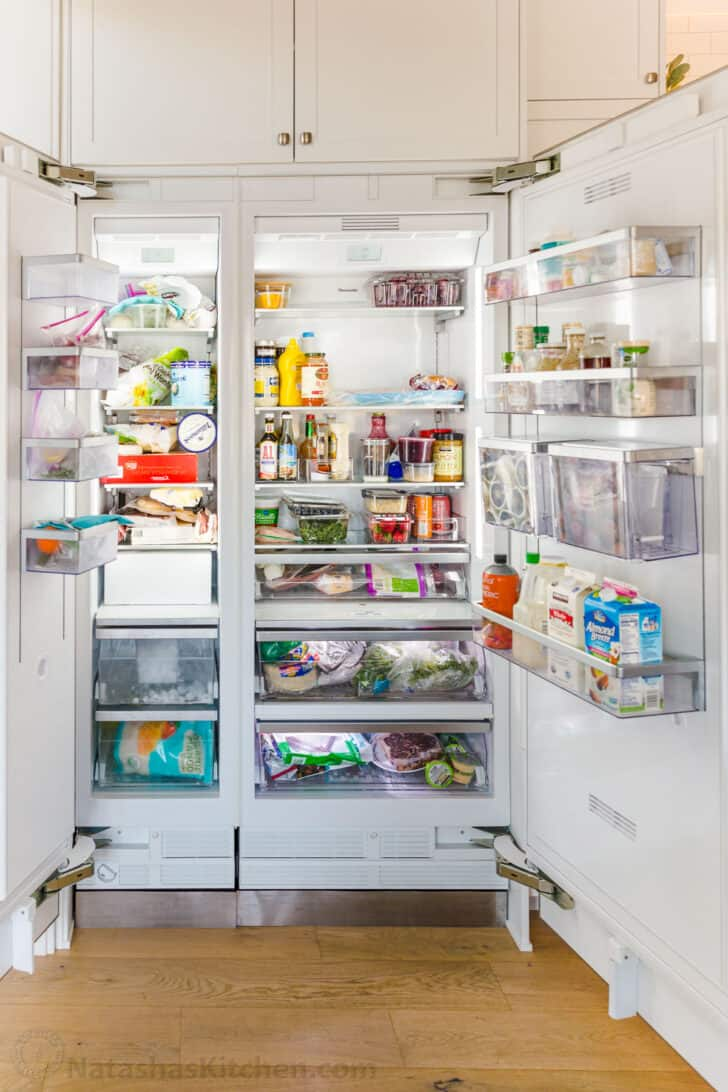 Disorganized side by side refrigerator and freezer