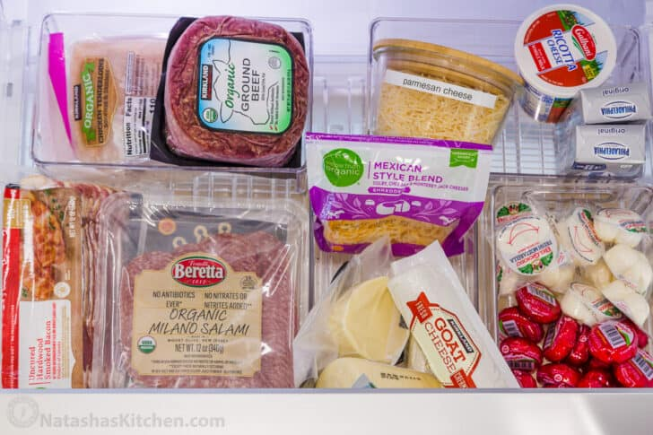 Meats and cheeses organized in drawer