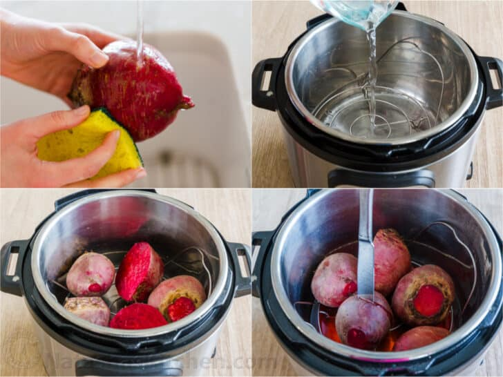 Step by step cooking beets in the instant pot.