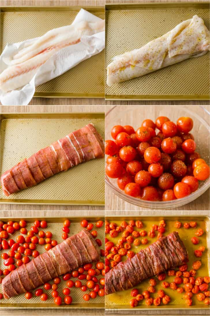 Step by step how to bake cod with prosciutto and cherry tomatoes