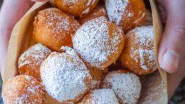 Zeppole donuts with powdered sugar