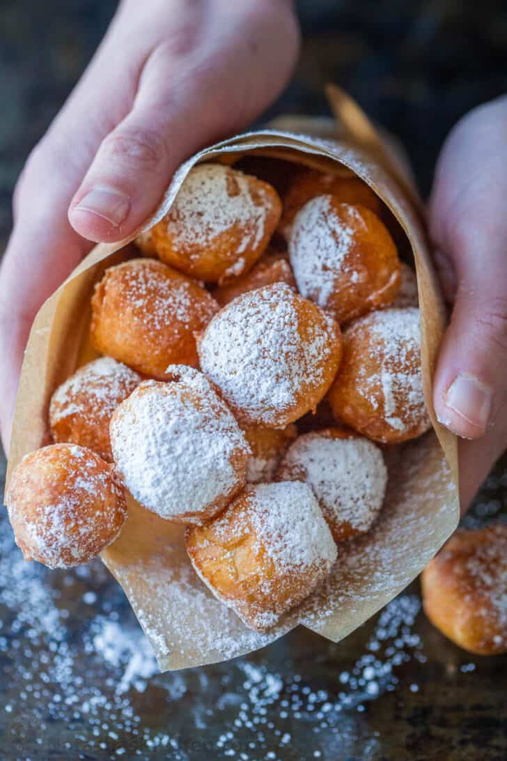 Zeppole donuts with powdered sugar