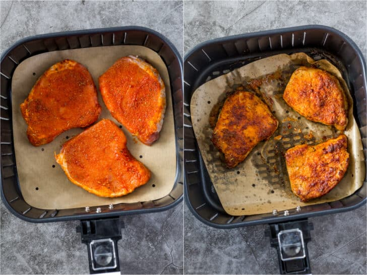 Step by step collage on how to make tender pork chops in air fryer
