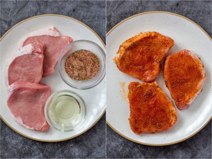 Pork chops with seasonings