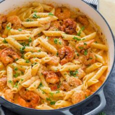 Cajun Shrimp Pasta Recipe in pot