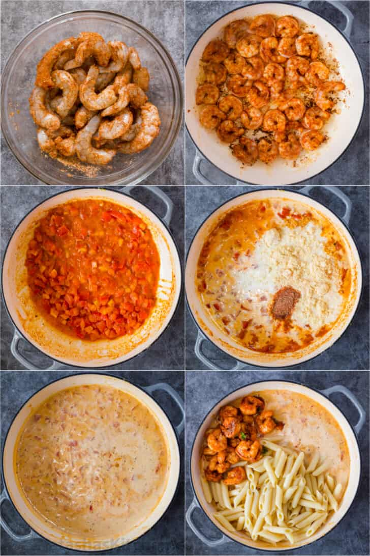 Step by step collage on how to make homemade cajun shrimp pasta recipe.