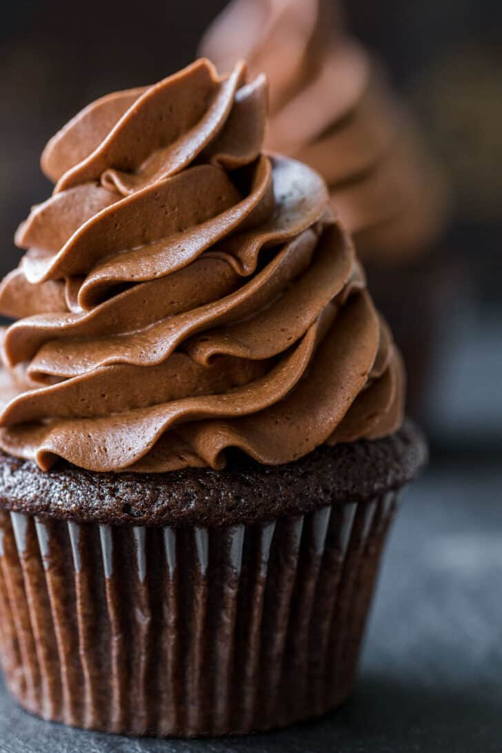 Chocolate buttercream frosting on chocolate cupcake