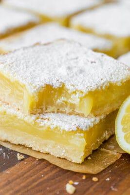 Lemon bars stacked