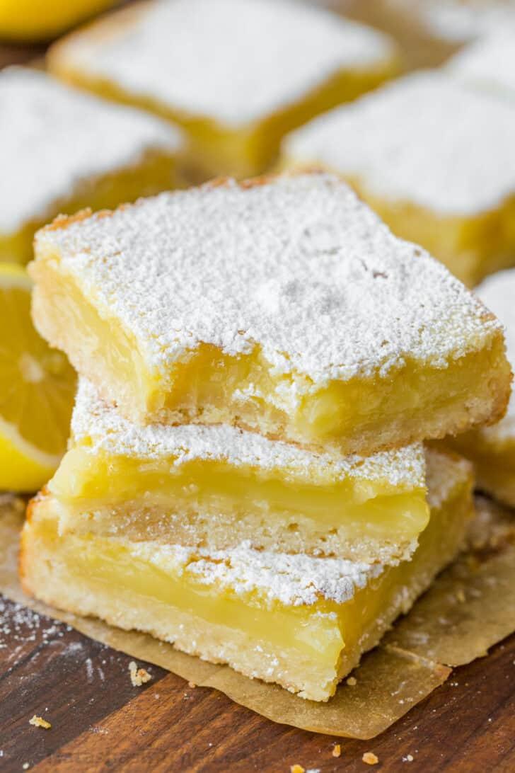 Lemon bars baked and ready for freezing