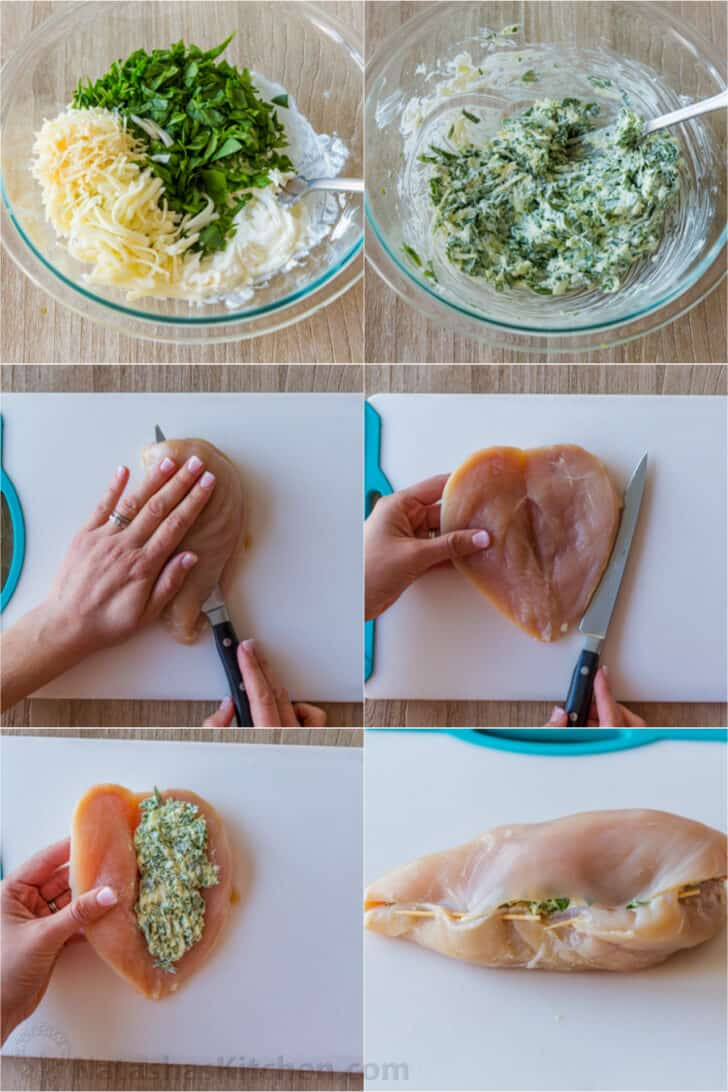 Step by step process of making spinach filling and stuffing chicken breasts.