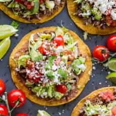 Tostadas served with lime wedges
