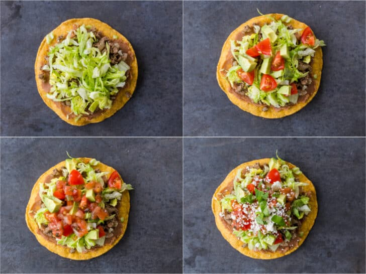 Assembling tostada with toppings