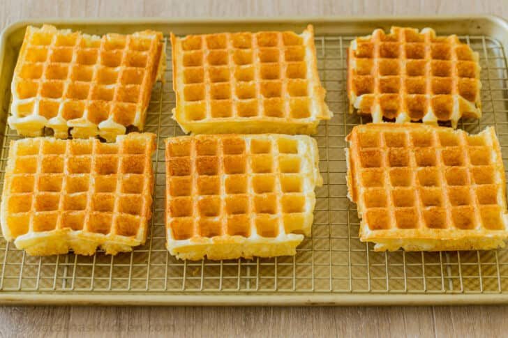 Hot waffles on wire rack