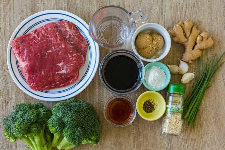 Ingredients for beef and broccoli stir fry with sauce