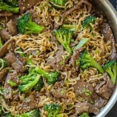 Beef broccoli ramen stir fry in saucepan