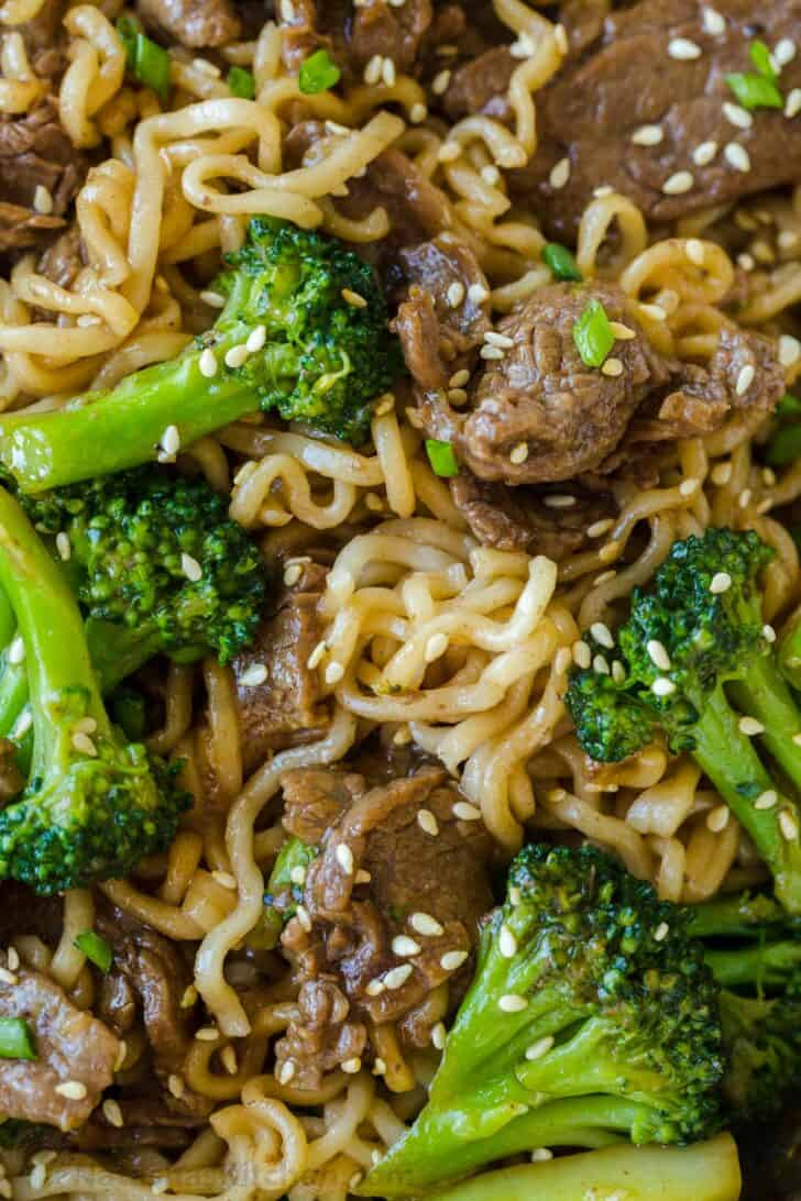 Up close Ramen stir fry with beef and broccoli