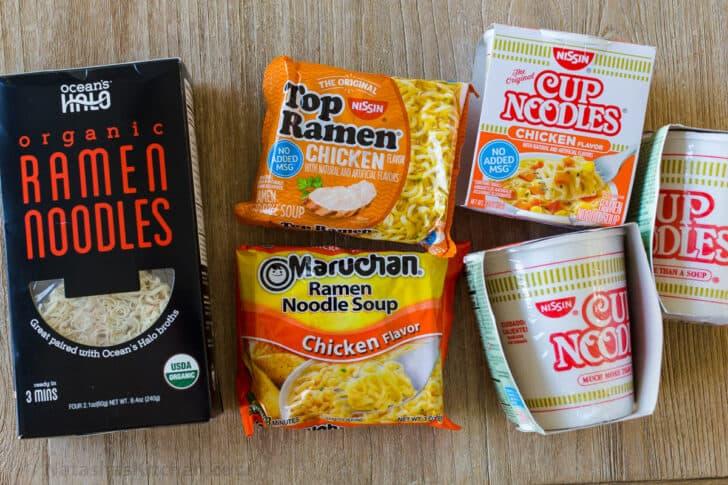 Varieties of Ramen noodles for stir fry