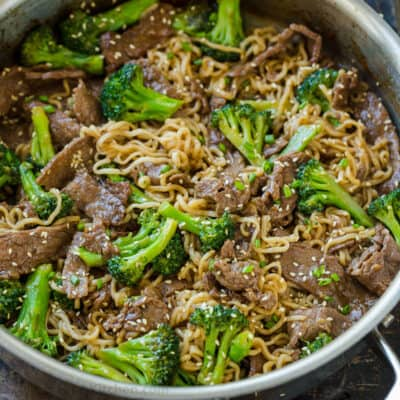 Ramen Stir Fry with Beef and Broccoli in skillet