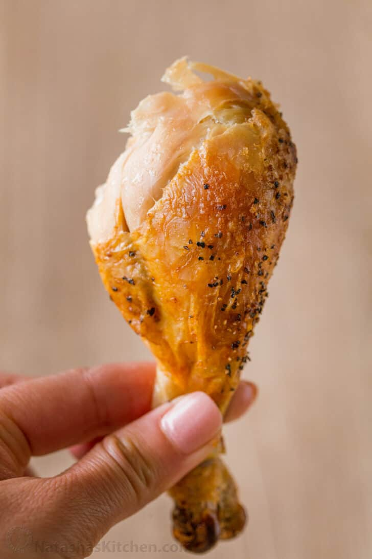 Chicken drumstick served from whole roasted chicken